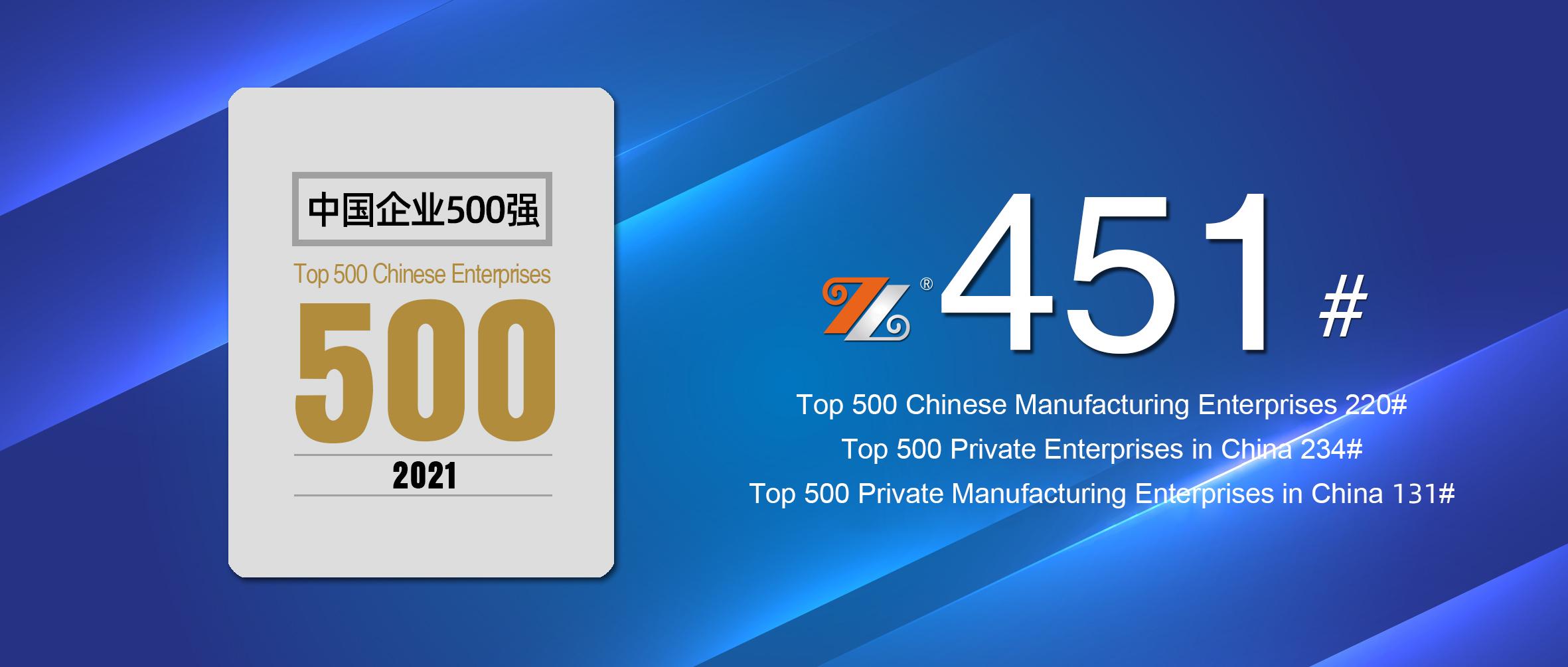 Hongwang Holding Group ranks 451st in the 2021 Top 500 Chinese Enterprises