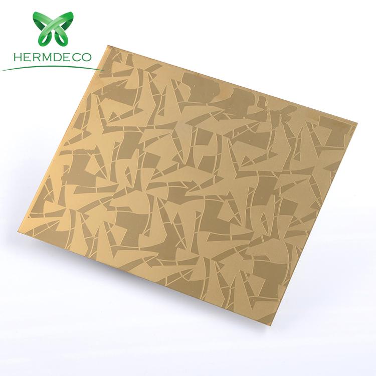 장식이나 엘리베이터 오두막 또는 문 - HM-ET012을위한 티타늄 304 201 316 골드 미러 에칭 패턴 스테인레스 스틸 시트