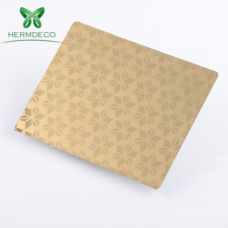 New Gold Seipone megopolong Mohlala Stainless Steel Sheets bakeng Mokhabiso kapa lifte ezalaki na mwa ndako kapa Door-HM-ET023