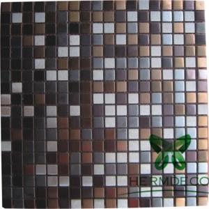 Gwerthu poeth Taflen Square Metal Mosaic Dur Di-staen Tile Panel Wall addurniadau Ystafell Wely-HM-MS006