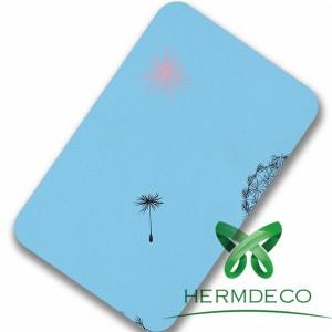 Modrý vzor z nerezové oceli listy pro dekorace Nice-HM-076