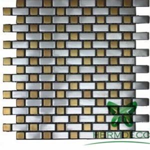Strips Glass Mix Stainless SteelMetallic Mix Crystal Diamondmosaic Tiles-HM-MS031