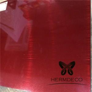 جودة مضمونة وبأسعار تنافسية لون أحمر شعري إنهاء 304 ورقة الفولاذ المقاوم للصدأ HM-HL010