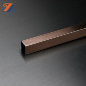 Prim quality 304 hairline finish copper antifingerprint metal U profile stainless steel metal tile border trim for decoration