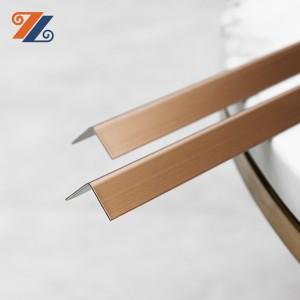 Factory wholesales 201 304 10*10 L profile mirror golden color metal tile edging installation for decoration