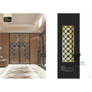 Custom Luxury Design Stainless Steel Folding Screen Partition-HM-PT020