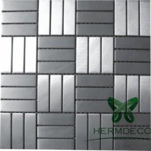 Metallic Glass Mosaic Tile Stainless Steel For Household Bathroom-HM-MS013